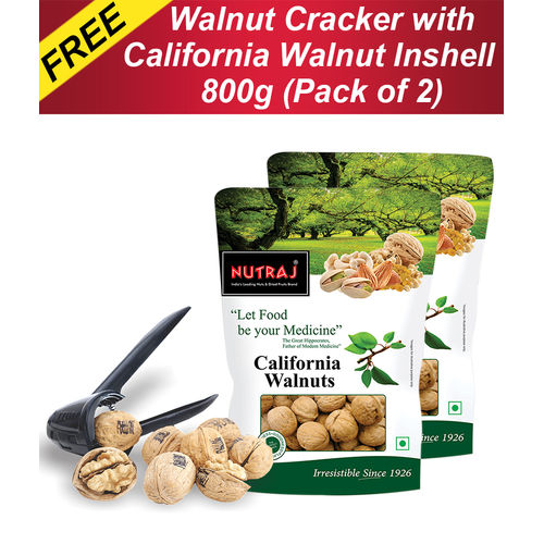 Nutraj California Walnut In Shell 800 g (Pack of 2) with FREE Nut Cracker