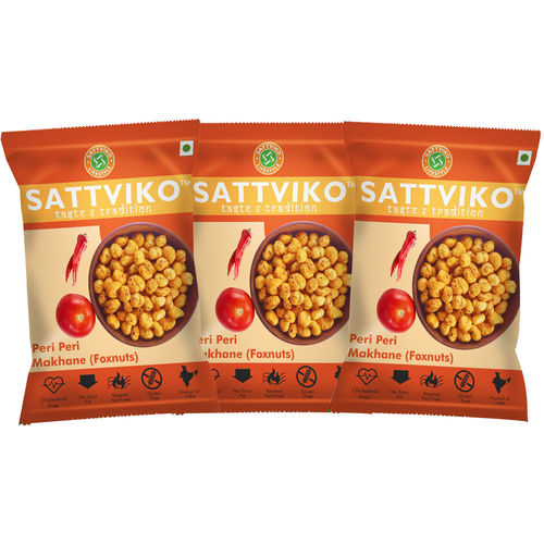 Sattviko Peri Peri Makhana 21gm - Pack of 3