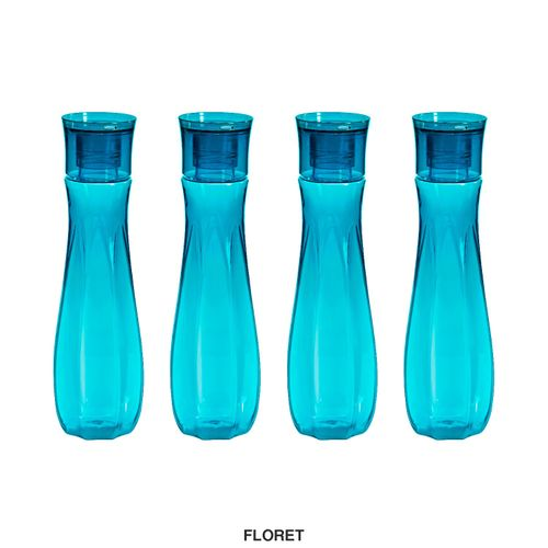 Steelo Floret Water Bottle, 1000ml, Set of 4, Turkish Blue