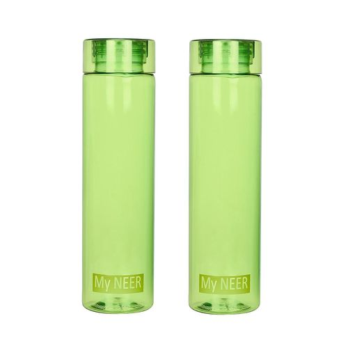 Steelo Neer Unbreakable Tritan Water Bottle, 1000ml, Set of 2, Olive Green