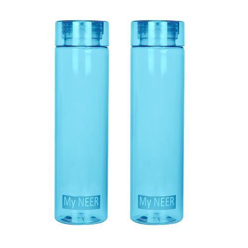 Steelo Neer Unbreakable Tritan Water Bottle, 1000ml, Set of 2, Turkish Blue