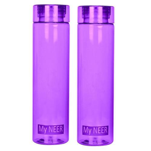 Steelo Neer Unbreakable Tritan Water Bottle, 1000ml, Set of 2, Violet