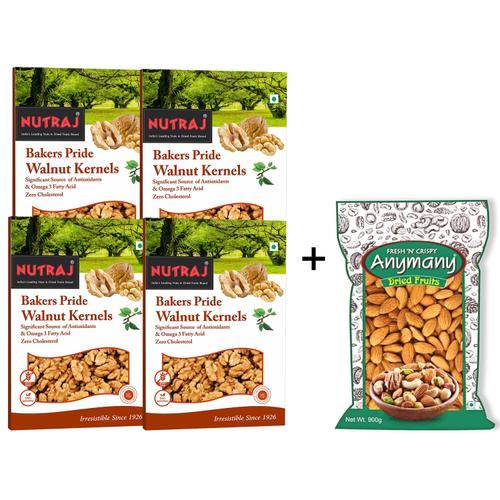 California Almonds 900gm + Bakers Pride Broken Walnuts 1Kg (250gm Pack of 4 Each)