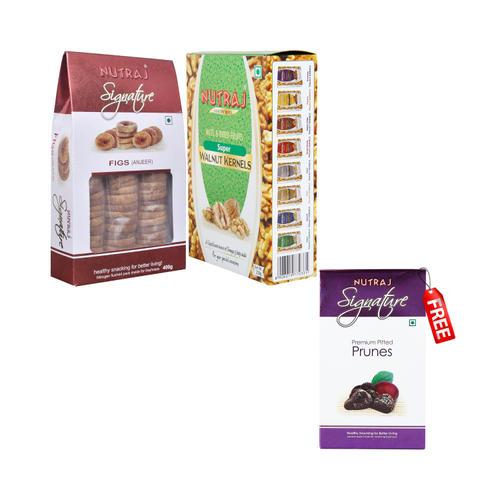 Nutraj Super Saver Pack 850g (Walnuts+Figs) - Prunes 200g Free