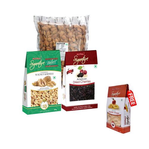 Nutraj Super Saver Pack 1400g (Almonds+Walnuts+Cherries) - Apple Rings Free