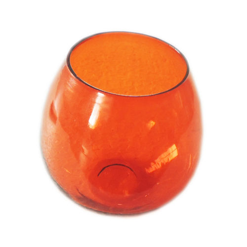 Decor Mart - Tea Lights Holder - Glass - Orange - 4.5 X 4 inch