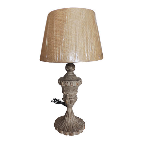Decor Mart Table Lamp - Wood Grey Colour with Distressed Jute  Natural Colour Shade