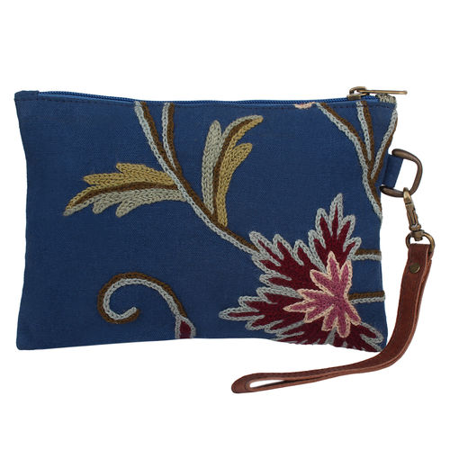 The Decor Mart - Cotton Embroidered - Blue Pouch - Pack of 1
