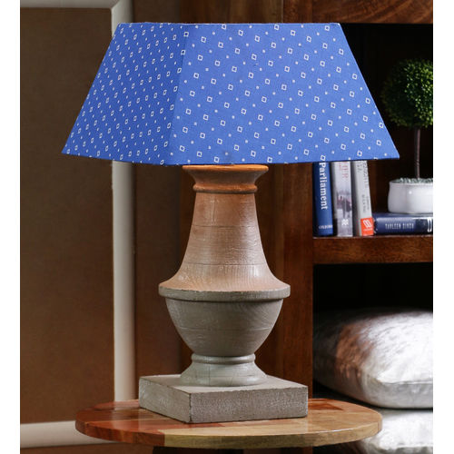 Decor Mart Table Lamp - Wood Grey Colour with Cotton Blue Colour Shade