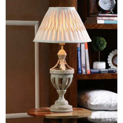 Decor Mart Table Lamp - Wood Grey Colour with Linen Pleated Natural Colour Shade