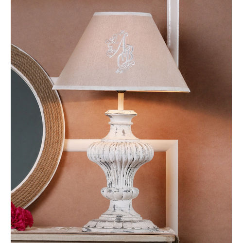Decor Mart Table Lamp - Wood White Distressed Colour with Embroidered Linen Natural Colour Shade