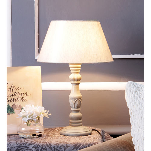 Decor Mart Designer Grey Wood  Lamp with off White Shade