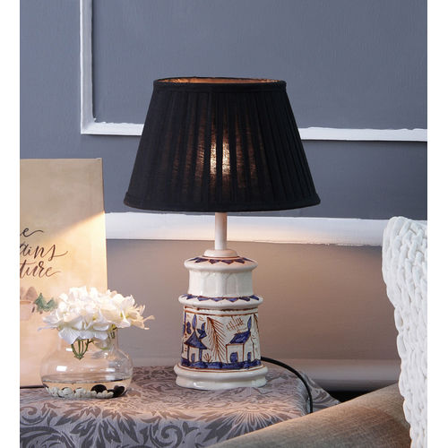 Décor Mart Designer White & Blue Ceramic Lamp with Black Shade