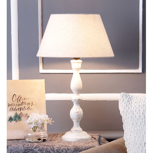 Décor Mart Designer White Wood  Lamp with Beige Shade