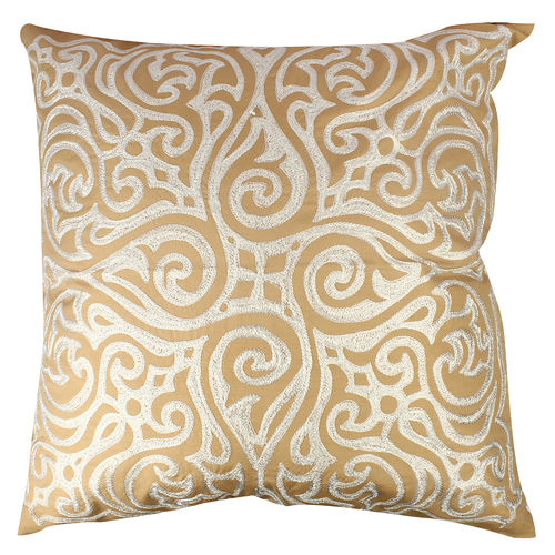 Decor Mart - Cushion Cover - Polyester - Embroidered - Gold & Ivory - 24 X 24 inch