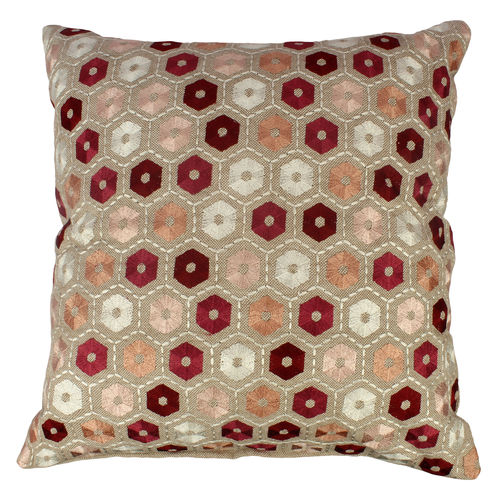 Decor Mart - Cushion Cover - Cotton - Embroidered - Natural & Red - 17 X 17 inch