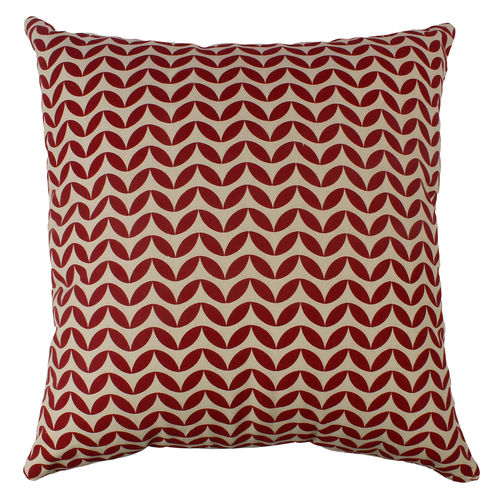 Decor Mart - Cushion Cover - Cotton - Printed - Natural & Red - 17 X 17 inch