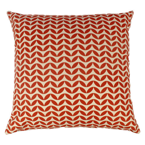 Decor Mart - Cushion Cover - Cotton - Printed - Natural & Orange - 17 X 17 inch