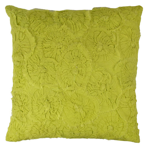 Decor Mart - Cushion Cover - Cotton/ Georgette - Fabric Embellishment - Yellow - 18 X 18 inch