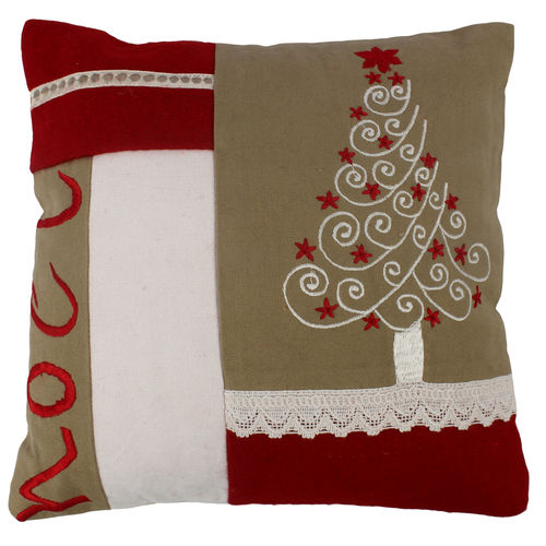 Decor Mart - Cushion Cover - Cotton - Embroidered - Red - 9.5 X 9.5 inch