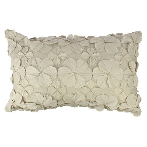 Decor Mart - Cushion Cover - Cotton - Fabric Embellishment - Off White - 12 X 19 inch
