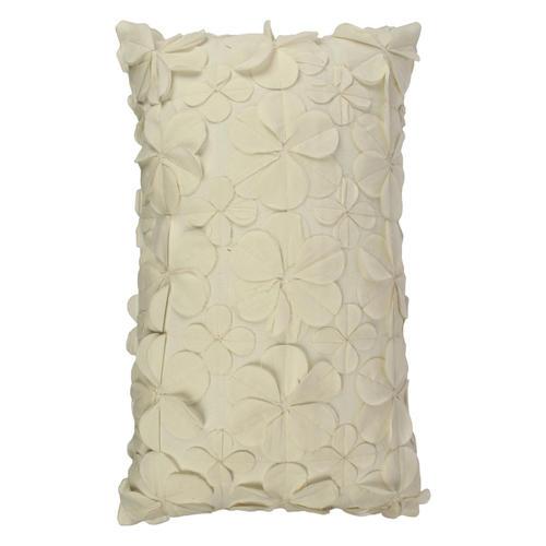 Decor Mart - Cushion Cover - Cotton - Fabric Embellishment - White - 12 X 19 inch