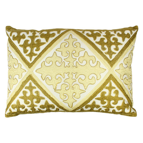Decor Mart - Cushion Cover - Polyester - Embroidered - Off White Green - 13 X 19 inch