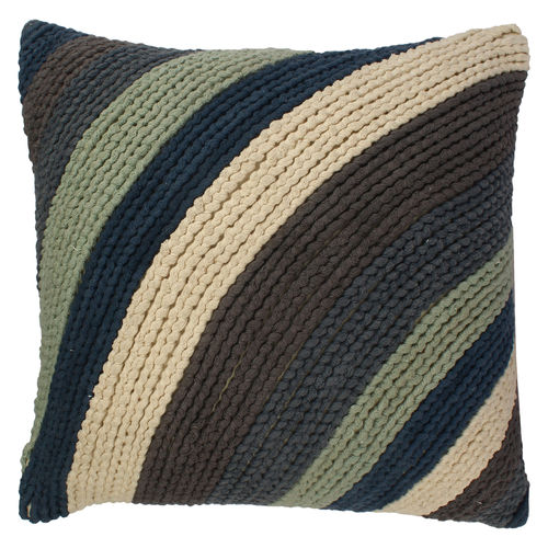 Decor Mart - Cushion Cover - Cotton - Embroidered - Blue - 16 X 16 inch