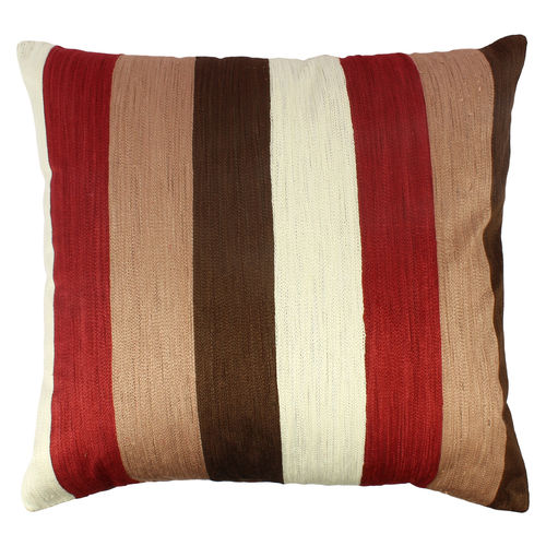 Decor Mart - Cushion Cover - Cotton - Embroidered - Red & Brown - 18 X 16 inch