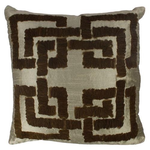 Decor Mart - Cushion Cover - Polyester - Embroidered - Olive Green - 17 X 17 inch