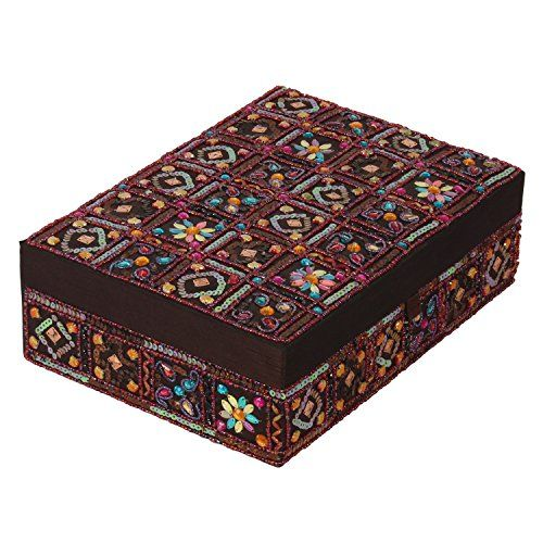Decor Mart - Jewellery Box - Beaded - Multi Color - 7.25 X 10 inch