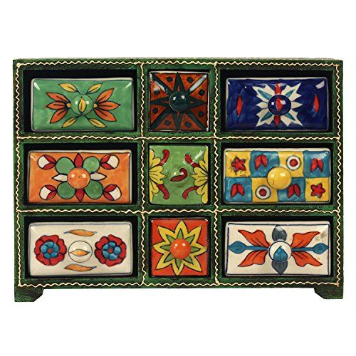 Decor Mart - Jewellery Box - Wood / Ceramic - Multi Color - 9.25 X 12.5 inch