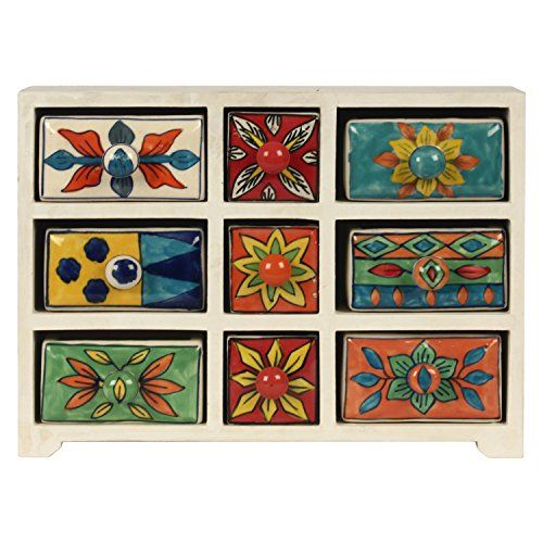 Decor Mart - Jewellery Box - Wood / Ceramic - Multi Color - 9 X 12.5 inch