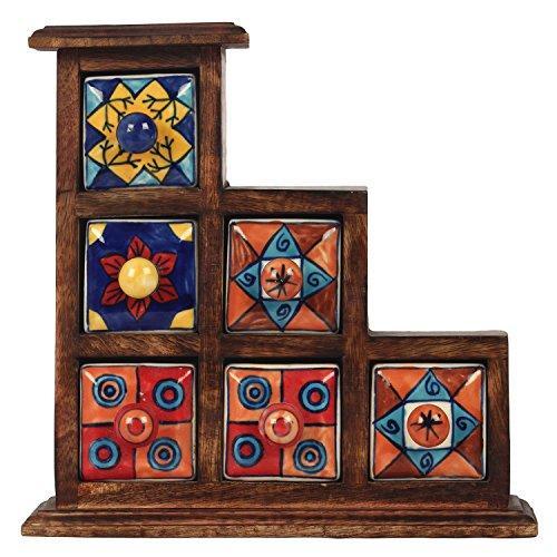 Decor Mart - Jewellery Box - Wood / Ceramic - Multi Color - 9.9 X 9.9 inch