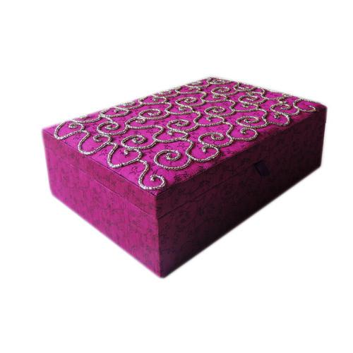 Decor Mart - Jewellery Box - Handmade - Beaded Fabric - Purple - 10 x 7 x 3 inch