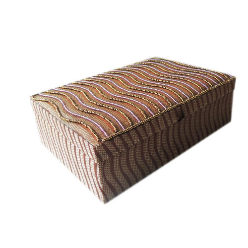 Decor Mart - Jewellery Box - Handmade - Beaded Fabric - Beige - 10 x 7 x 3 inch