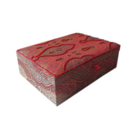Decor Mart - Jewellery Box - Handmade - Beaded Fabric - Red - 10 x 7 x 3 inch