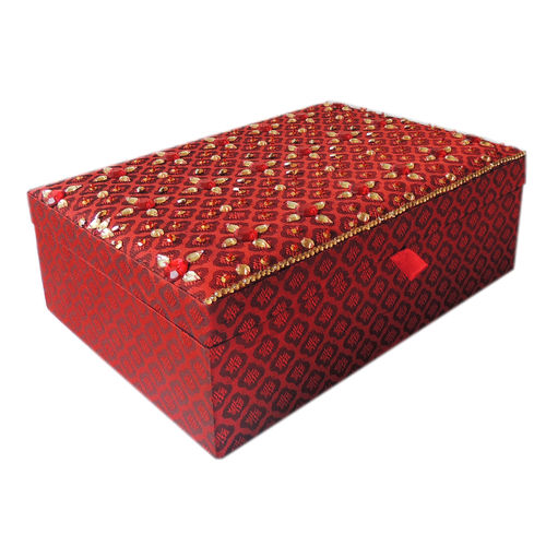 Decor Mart - Jewellery Box - Handmade - Beaded Fabric - Red - 10 x 7 x 3 inch