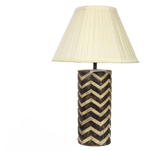 Decor Mart Table Lamp - Wood Chevron Pattern Colour with Cotton Pleted Natural Colour Shade