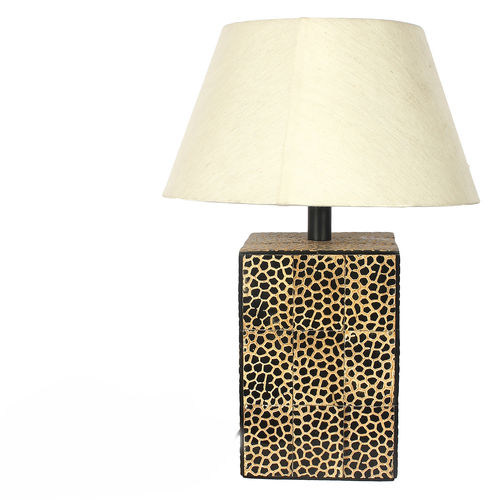 Decor Mart Table Lamp - Horn  Natural / Brown Colour with Natural White Colour Shade