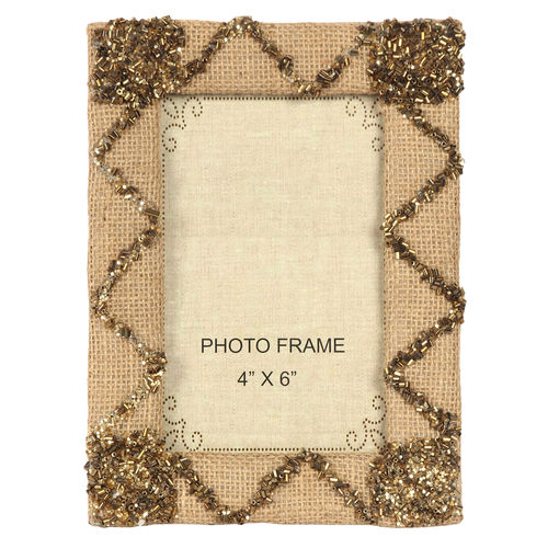 Decor Mart Natural / Brown Colour Jute Photo Frame for 6 X 4 inch photo