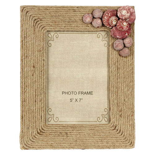 Decor Mart Natural / Brown Colour Jute Photo Frame for 7 X 5 inch photo