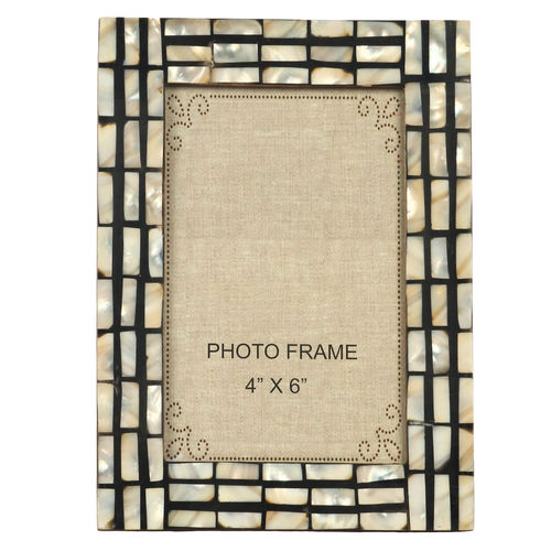Decor Mart Black & White Colour Mother of Pearl Photo Frame for 6 X 4 inch photo