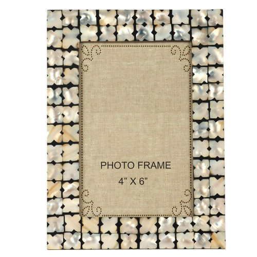 Decor Mart Black & White/ Off-White Colour Mother of Pearl Photo Frame for 6 X 4 inch photo