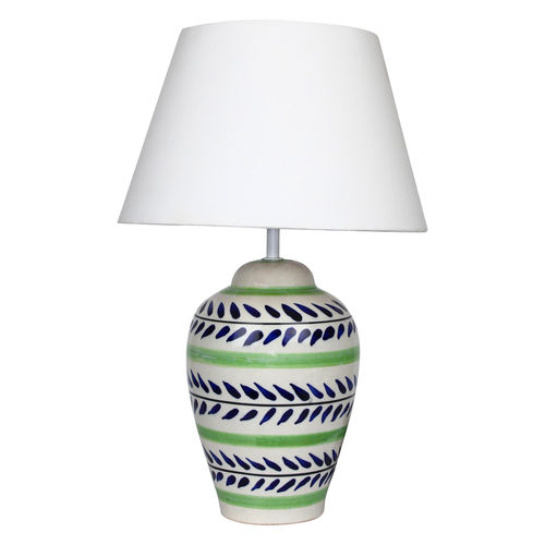 Décor Mart Designer Blue & Green Ceramic Lamp with White Shade