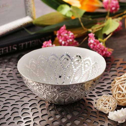 White And Silver Moorish Gloria Bowl