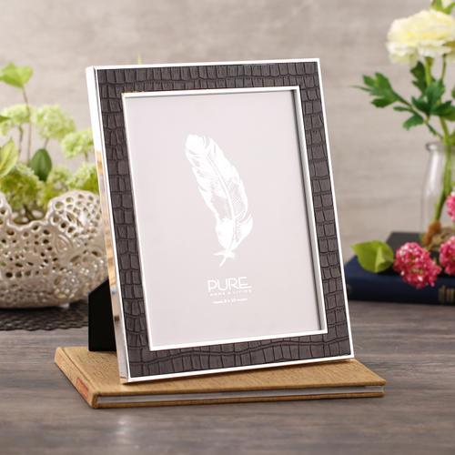 Large Black Croco Textured Tabletop Frame