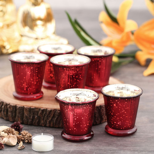 Set of 6 Red Ribbed votive