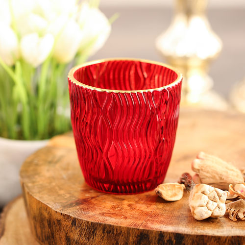 Set Of 2 Red Wavy Textured Votive
