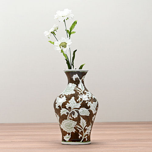 Brown and White Floral Ceramic Vase